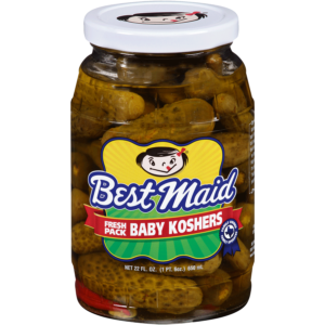 Baby Kosher Pickles in a 22oz glass jar