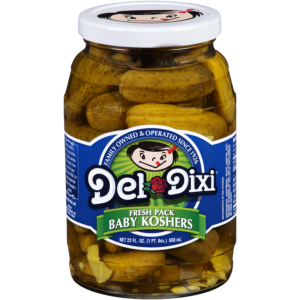 Baby Kosher Pickles from Del Dixi in a 22oz jar