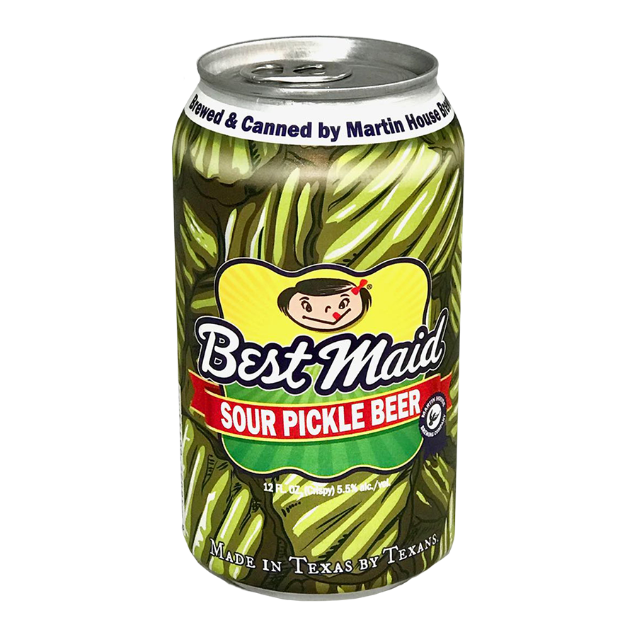 Best Maid Sour Pickle Beer that you know and love.  This delicious Gose style beer is made by our good friends at Martin House Brewing co. right here in Fort Worth, Texas. 